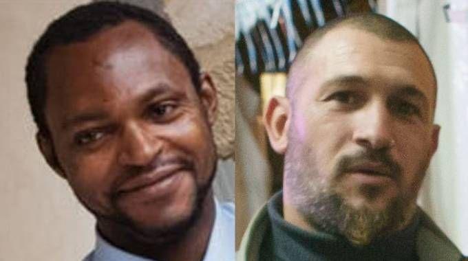 Emmanuel, il nigeriano ucciso a Fermo, e Amedeo Mancini, (Zeppilli)