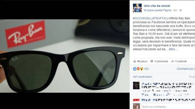 ray ban occhiali beneficenza