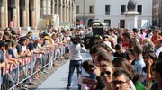 I piloti del Motogp in piazza a Rimini (foto Petrangeli)