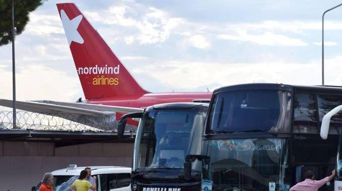 Un aereo Nordwind all'aeroporto Raffaello Sanzio di Ancona