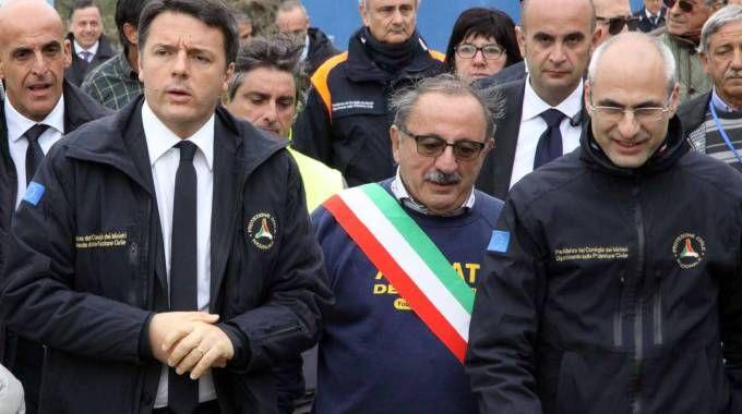 Il premier Renzi in visita ad Arquata