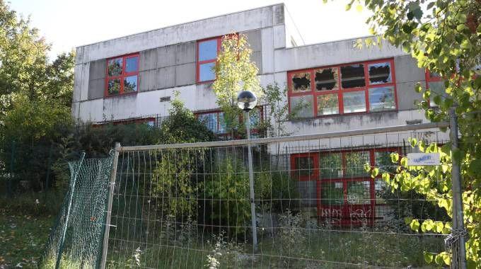 Le scuole medie Carracci, di via della Battaglia,  in completo abbandono da anni (Foto Schicchi)