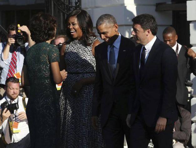 Barack Obama, Michelle Obama, Matteo  Renzi e Agnese Landini (Ansa)