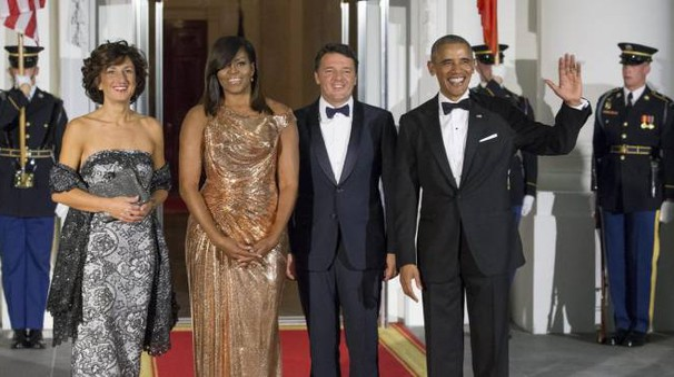 Agenese Renzi, Michelle Obama, Matteo Renzi e  Barack Obama (Ansa)