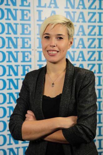 """Giulia Mazzoni in visita alla """"Nazione"""" (Cabras/New Press Photo)"""