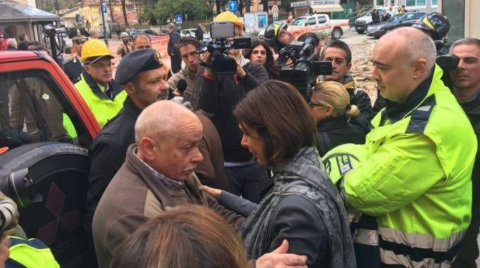 Il presidente della Camera Laura Boldrini a Visso (Dire)