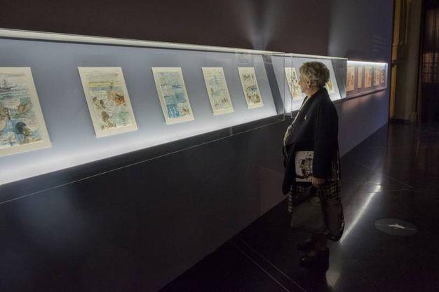 Alcune tavole di Hugo Pratt in mostra a Palazzo Pepoli (foto Schicchi)