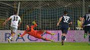 Il gol su rigore di Ciano (foto LaPresse)