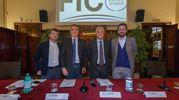 Da sinistra: Andrea Segrè, presidente della Fondazione Fico, Antonino Rotolo, prorettore per la ricerca, il ministro Gian Luca Galletti e l'assessore all'Economia Matteo Lepore (Schicchi)
