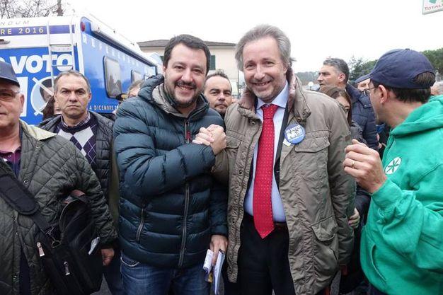 Matteo Salvini in Versilia con Massimiliano Baldini (foto Umicini)