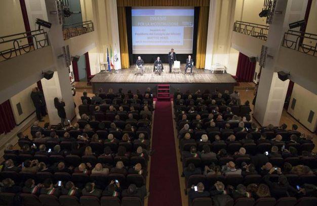 Intervenuti all'incontro sulla ricostruzione anche Vasco Errani e Fabrizio Curcio (Ansa)