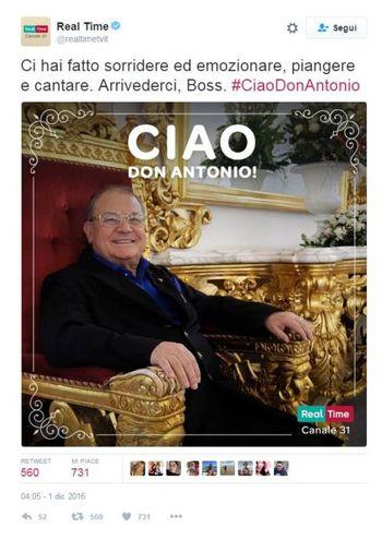 Morto Antonio Polese, l'addio di Real Time (Twitter)