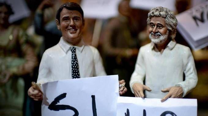 Referendum duello tra Sì e No anche nel presepe napoletano (Ansa)