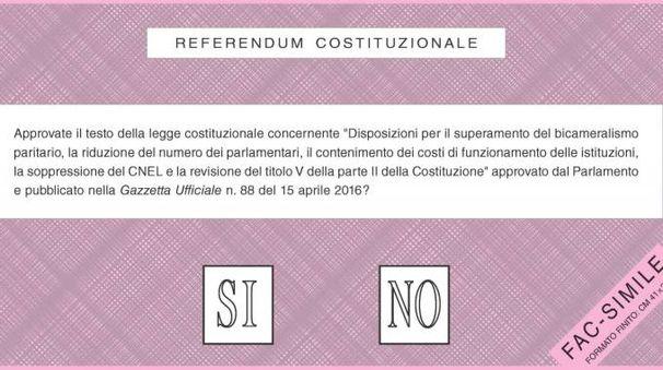 Il fac-simile della scheda referendaria