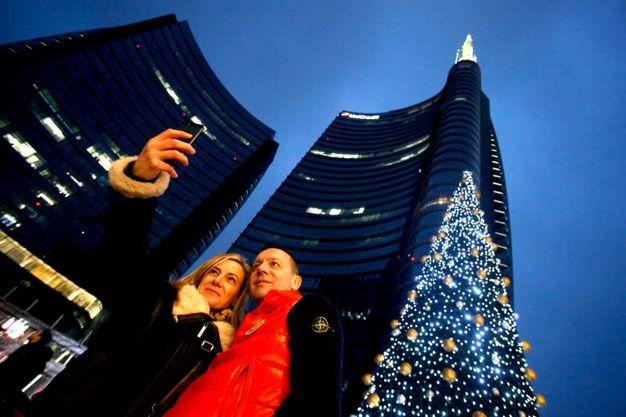 Natale in piazza Gae Aulenti a Milano
