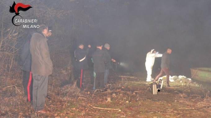 Le forze dell'ordine nella cava di Cernusco