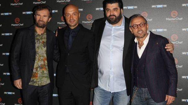 Da sinistra: Carlo Cracco, Joe Bastianich, Antonino Cannavacciuolo, Bruno Barbieri
