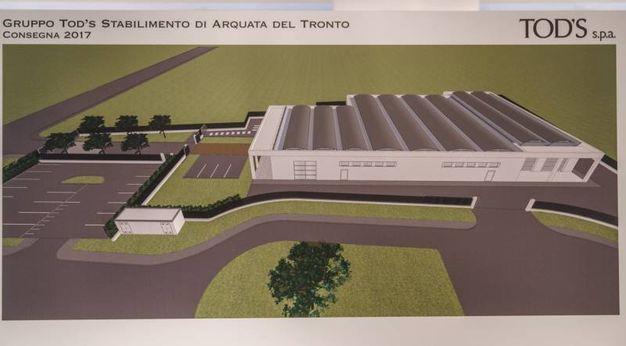 Il rendering della nuova fabbrica di Della Valle ad Arquata (Foto Zeppilli)