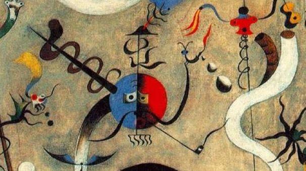 Una delle coloratissime tele di Joan Mirò