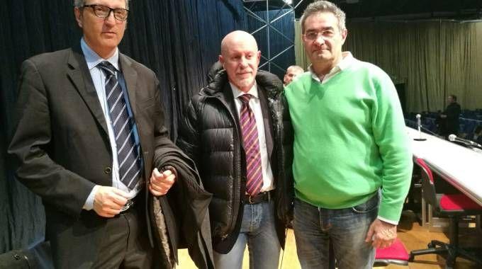 Da sinistra Mauro Fanan, Alessandro Spaggiari e Benito Zocca, tre dei sindacalisti presenti all'assemblea