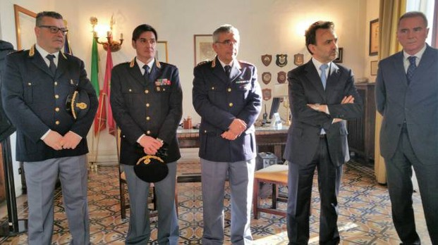 Da sinistra, De Servi, Tangorra, Pasquariello e il questore Giuliano