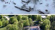 L'hotel Rigopiano dall'alto, prima e dopo la slavina che lo ha travolto (Ansa)