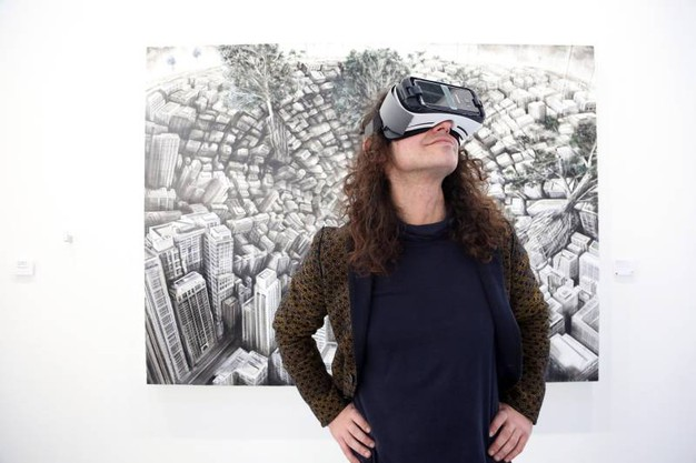 L'opera con realtà tridimensionale di Fabio Giampietro: 'Hyper planes of simultanety, the downward'. Alla galleria Fabbrica Eos (Schicchi)