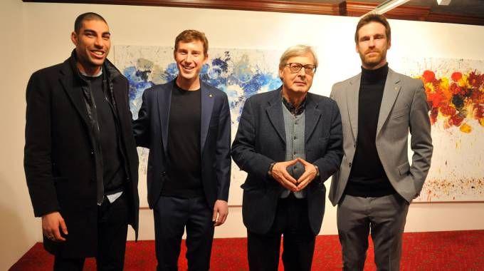 Omar Hassan, Bruno Riffeser Monti, Vittorio Sgarbi e Lorenzo Fusina al Royan Hotel Carlton (foto Schicchi)