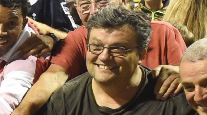 Pietro Galletti (al centro) alla festa per lo scudetto 2014 della Fortitudo baseball