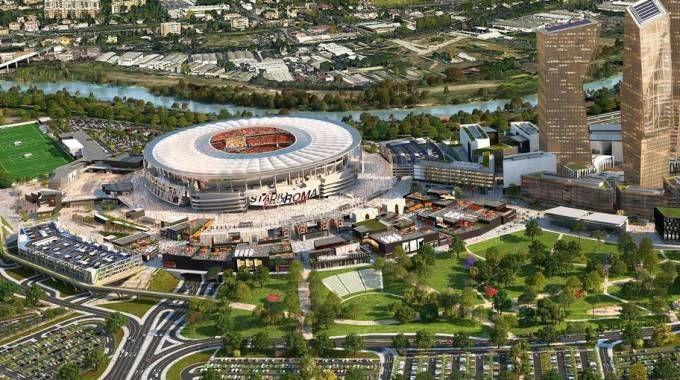 Un rendering del progetto dello stadio della Roma (Ansa)