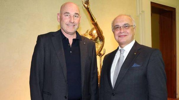 L'editore Andrea Riffeser Monti, Ad di PoligraficiEditoriale, con Daniele Ravaglia, direttore generale di EmilBanca