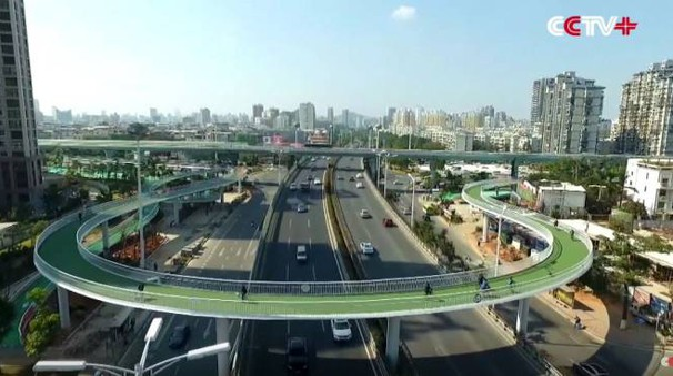 Quasi 8 chilometri di pista ciclabile sospesa - Foto CCTV+ / YouTube