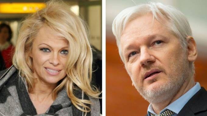 Pamela Anderson e Julian Assange (LaPresse)
