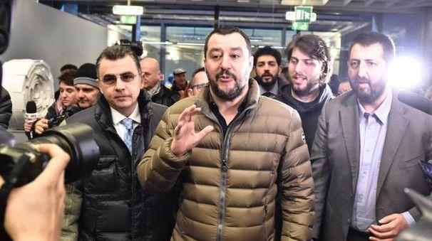 Il segretario della Lega Nord Matteo Salvini visita la fiera 'Libro Aperto' alla Fortezza