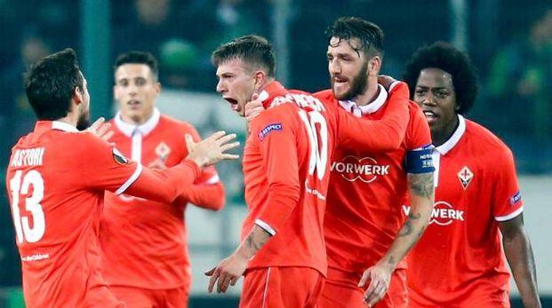 L'esultanza dopo il gol di Bernardeschi a Mönchengladbach