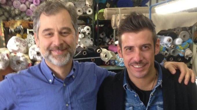 Francesco Gabbani insieme a Cristiano Orlandini, uno dei titolari di Ob Stock