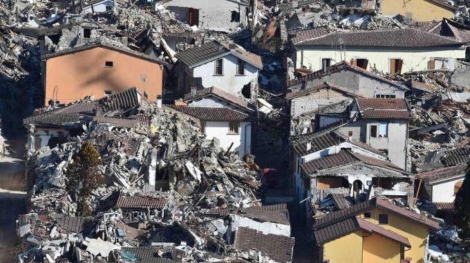 Amatrice sei mesi dopo il terremoto (Ansa)