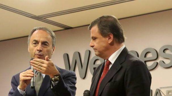 Nerio Alessandri e il ministro Carlo Calenda al Technogym Village (Foto Ravaglia)