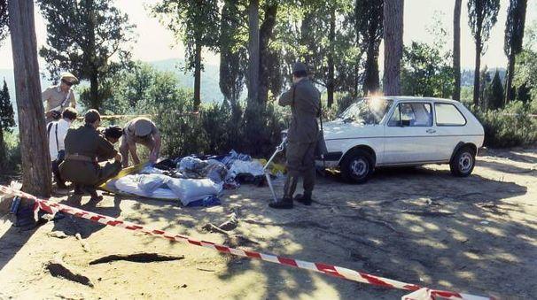 La scena del delitto degli Scopeti, una delle pagine della vicenda (New Press Photo)