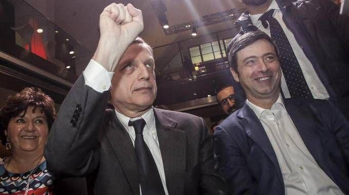 Gianni Cuperlo e Andrea Orlando all'assemblea di sinistradem (Ansa)