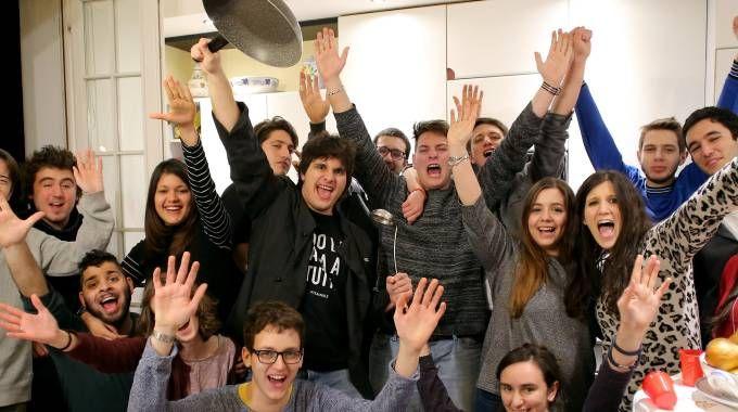 La festa di Valerio Braschi con gli amici ( Foto Bove)