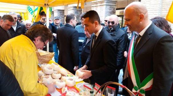 Luigi Di Maio acquista il formaggio a Fossombrone. A destra, il sindaco Gabriele Bonci