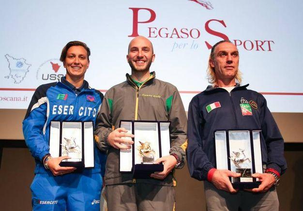 Pegaso per lo Sport 2017: da sinistra Rachele Bruni, Niccolò Campriani,  Alessio Cornamusini (Germogli)