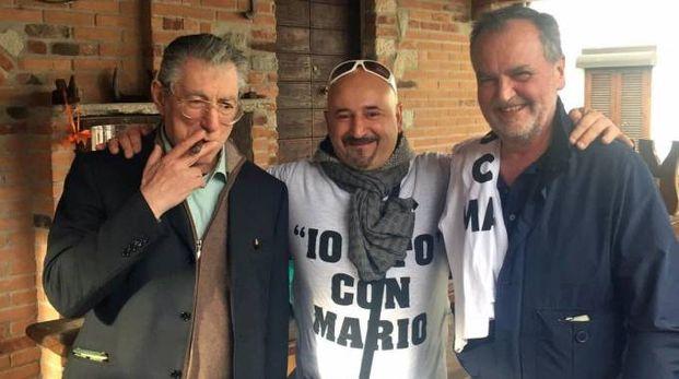Roberto  Calderoli e Umberto Bossi al corteo 'Io sto con Mario'
