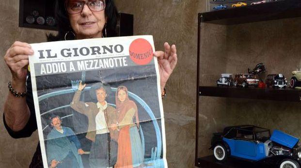 Rosanna Ghislanzoni,  figlia di Stefano storico barcaiolonello sceneggiato, con la pagina  del Giorno del 1976 (Cardini)