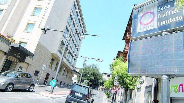 L'ingresso Ztl di via Masi, a Perugia