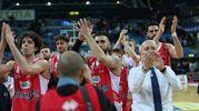 I giocatori della Grissin Bon ringraziano i tifosi (Fotoprint)