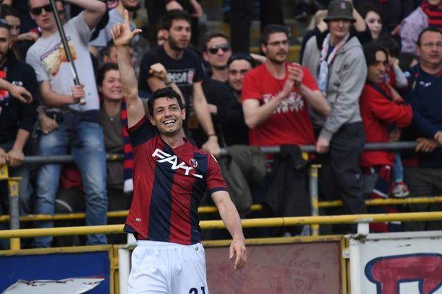 Dzemaili festeggia sotto la curva Andrea Costa (foto Schicchi)