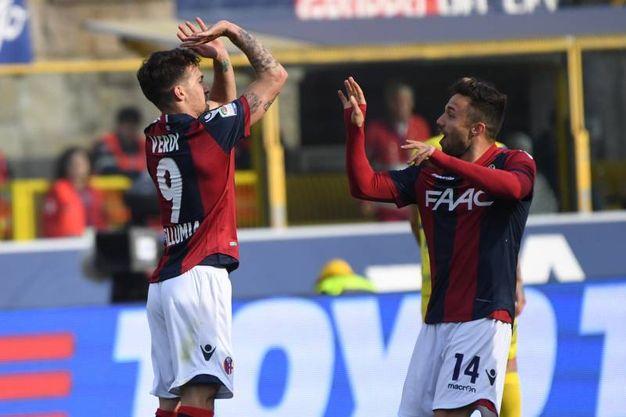 Verdi e Di Francesco scherzano dopo il gol (foto Schicchi)