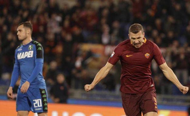 Roma-Sassuolo 3-1, Dzeko (Ansa)